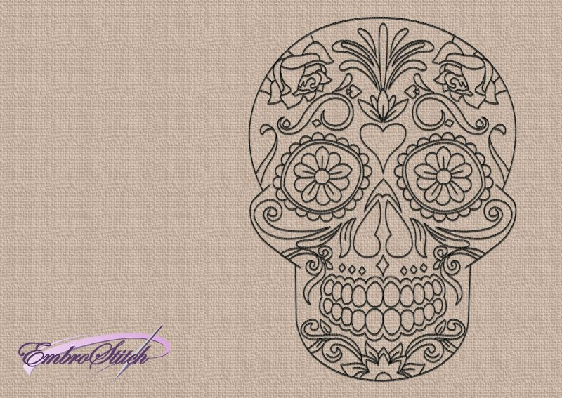 The embroidery design Outline floral skull will beautiful decorate any clothes.