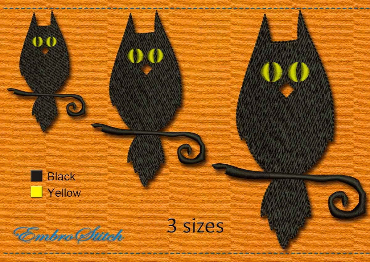 This Owl Halloween design was digitized and embroidered by Embrostitch studio