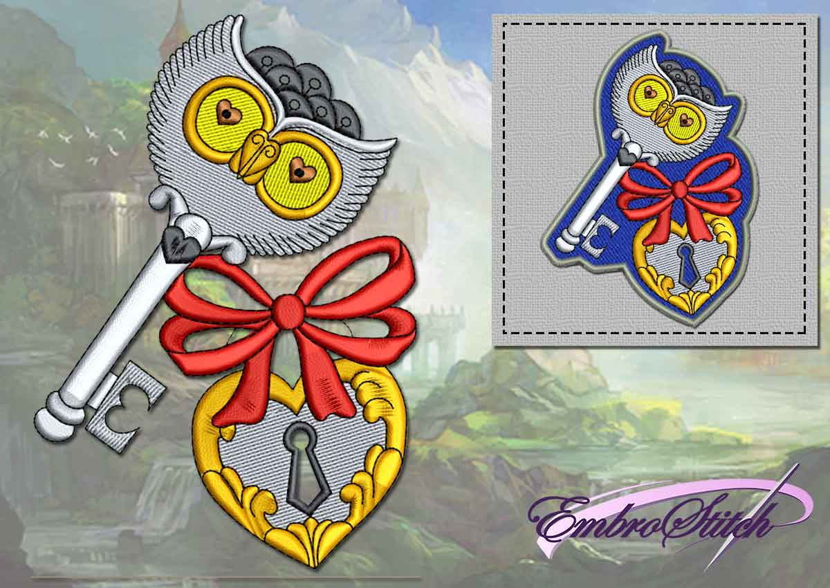 The embroidery design Owl with key