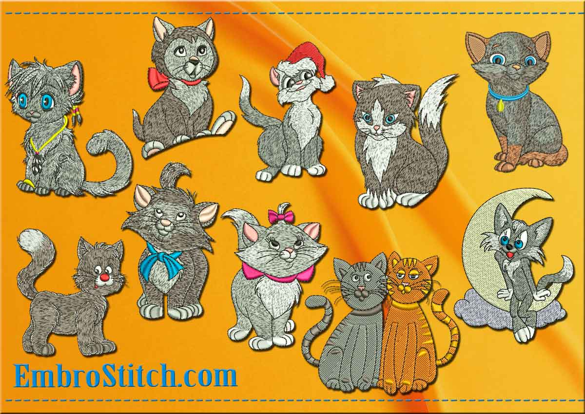 This Pack Grey Kittens Cats design was digitized and embroidered by Embrostitch studio