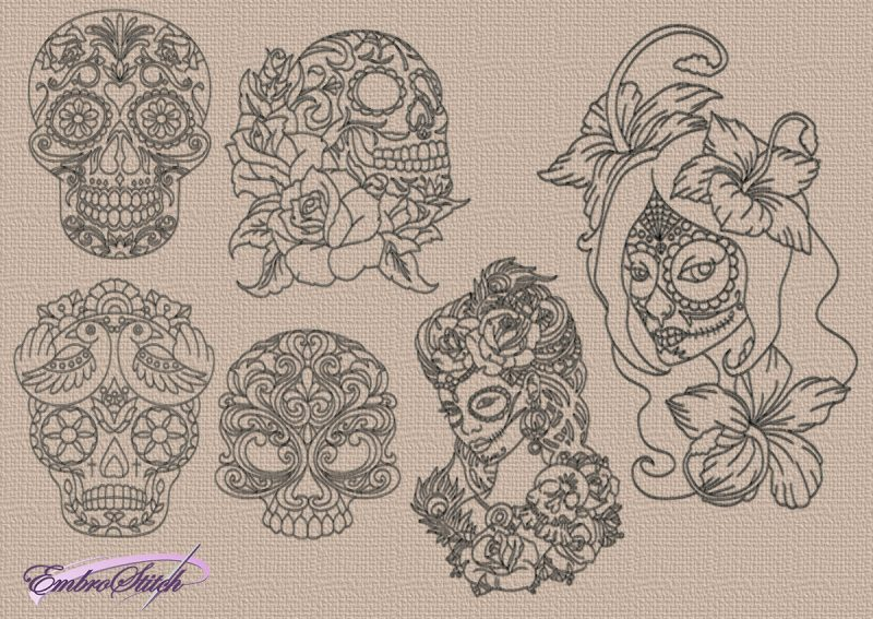 The pack of embroidery designs Patterned skulls contains 6 items, that were digitized with run stitching elements.