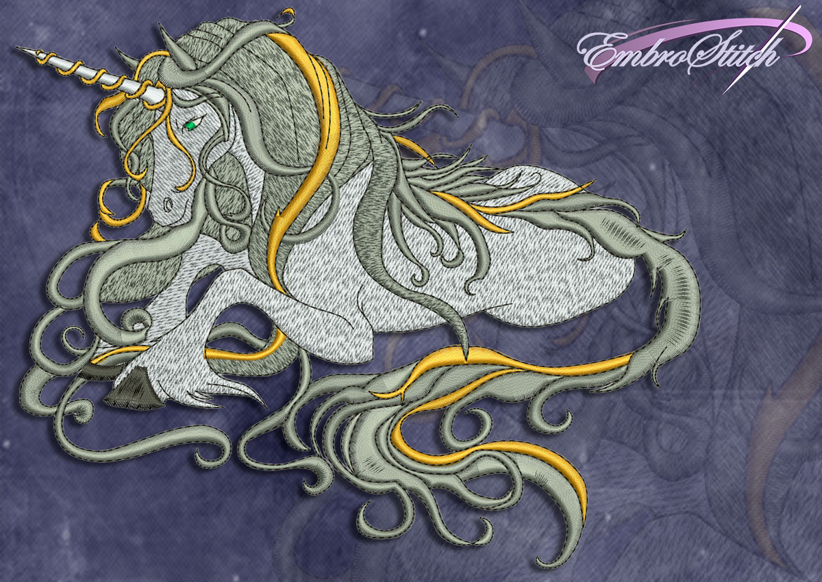 This Peaceful Unicorn design was digitized and embroidered by Embrostitch studio