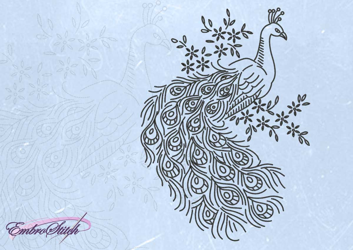 The embroidery design Peacock on branch