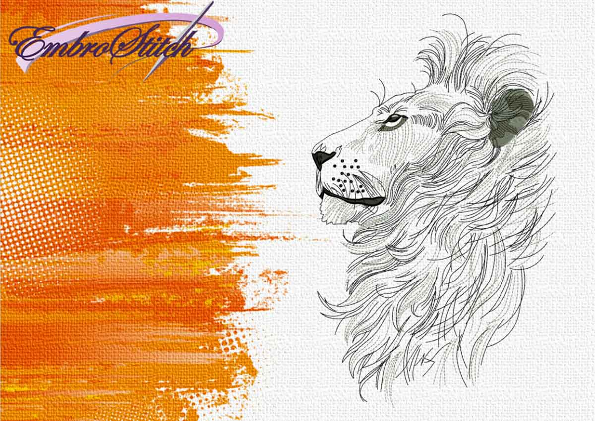 The embroidery design Pensive Leo by EmbroStich
