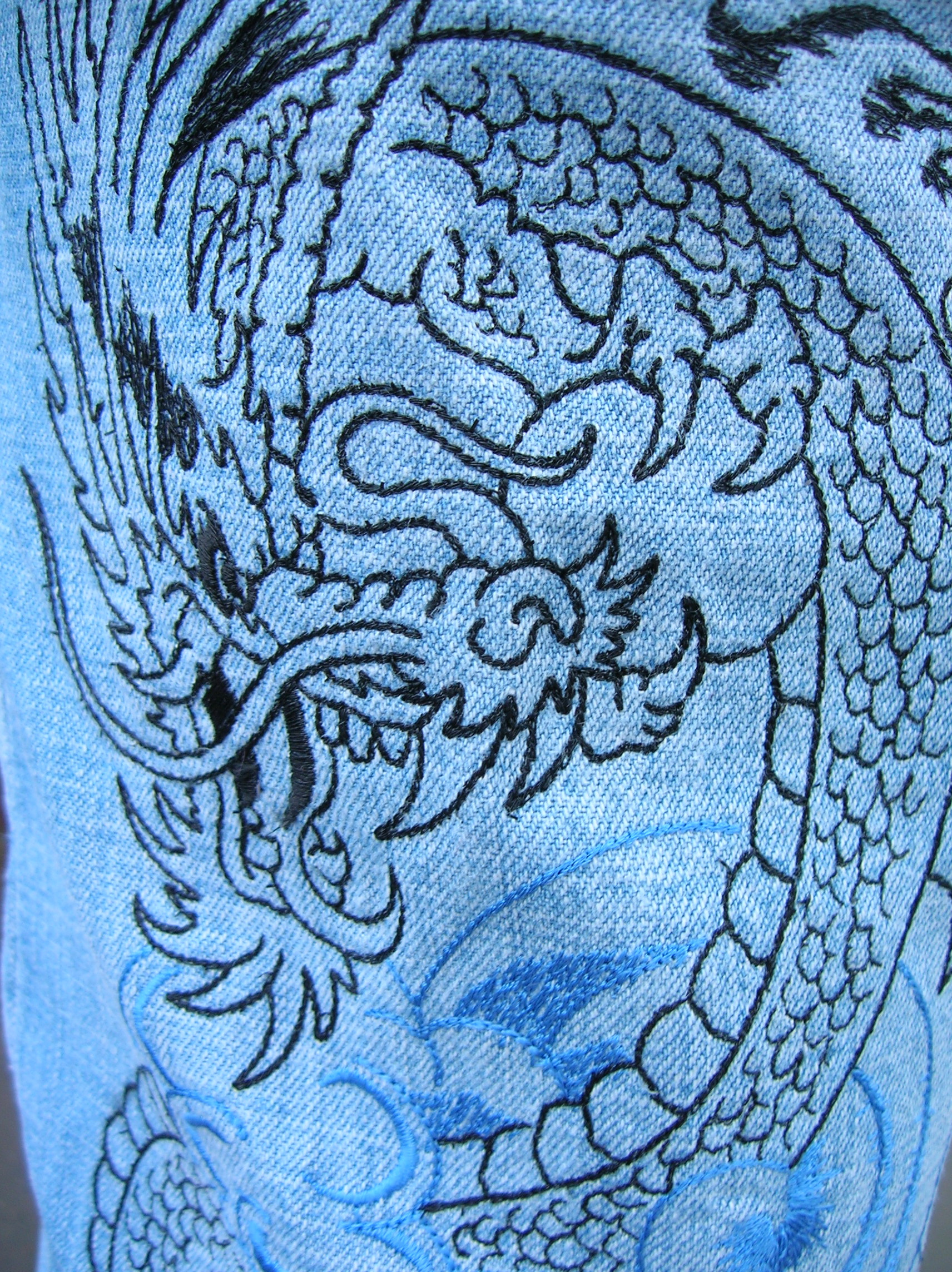 Forward Dragon Backstitch Style Embroidery Design  3