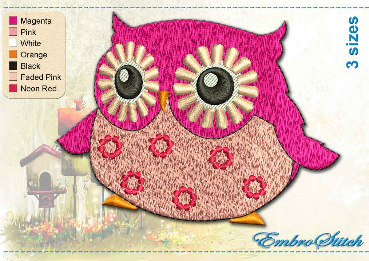 nice Owl Embroidery Pattern Part - 20: This Pink Owl design was digitized and embroidered by Embrostitch studio