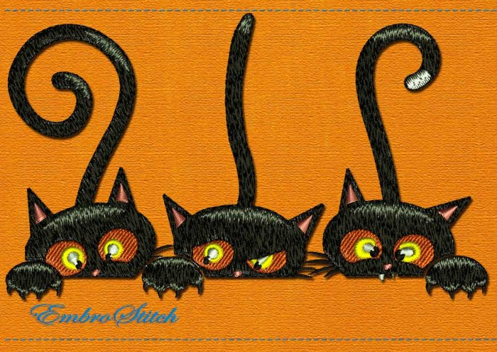 This Playful Kittens Halloween design was digitized and embroidered by Embrostitch studio