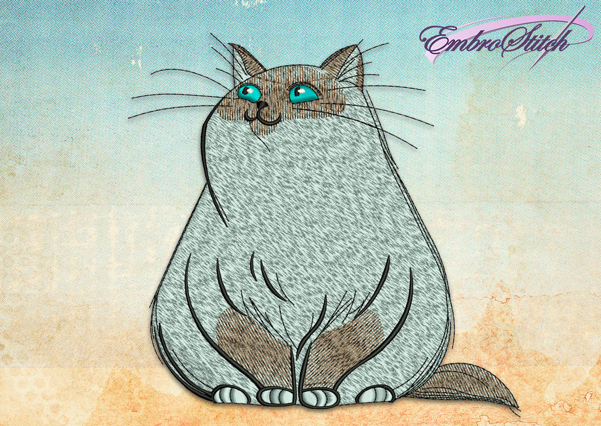 This Plump Cat design was digitized and embroidered by Embrostitch studio
