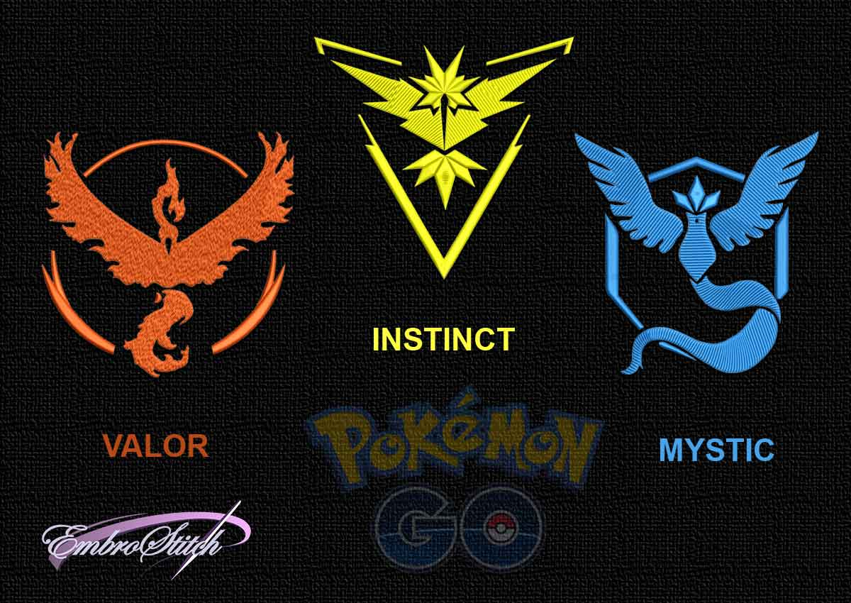 The pack of embroidery designs Pokemon Go Team