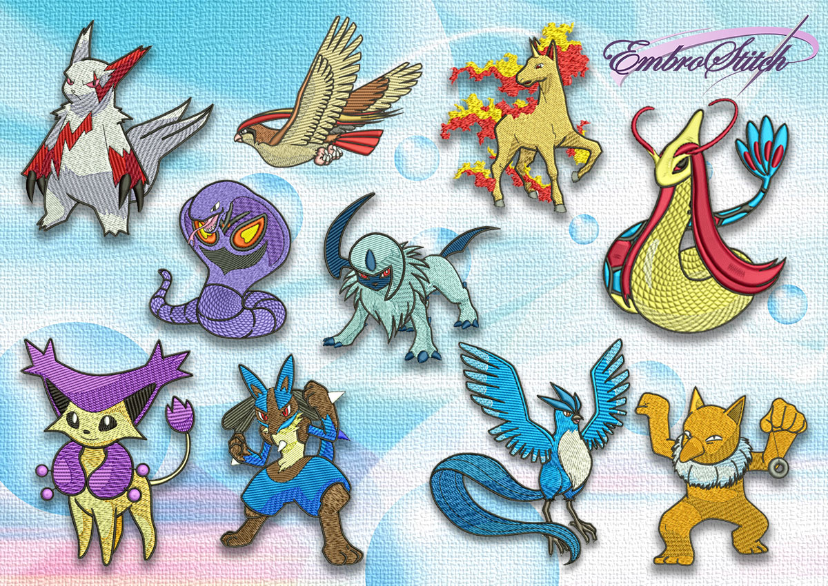 The pack of the embroidery design Assemblage of pokemons