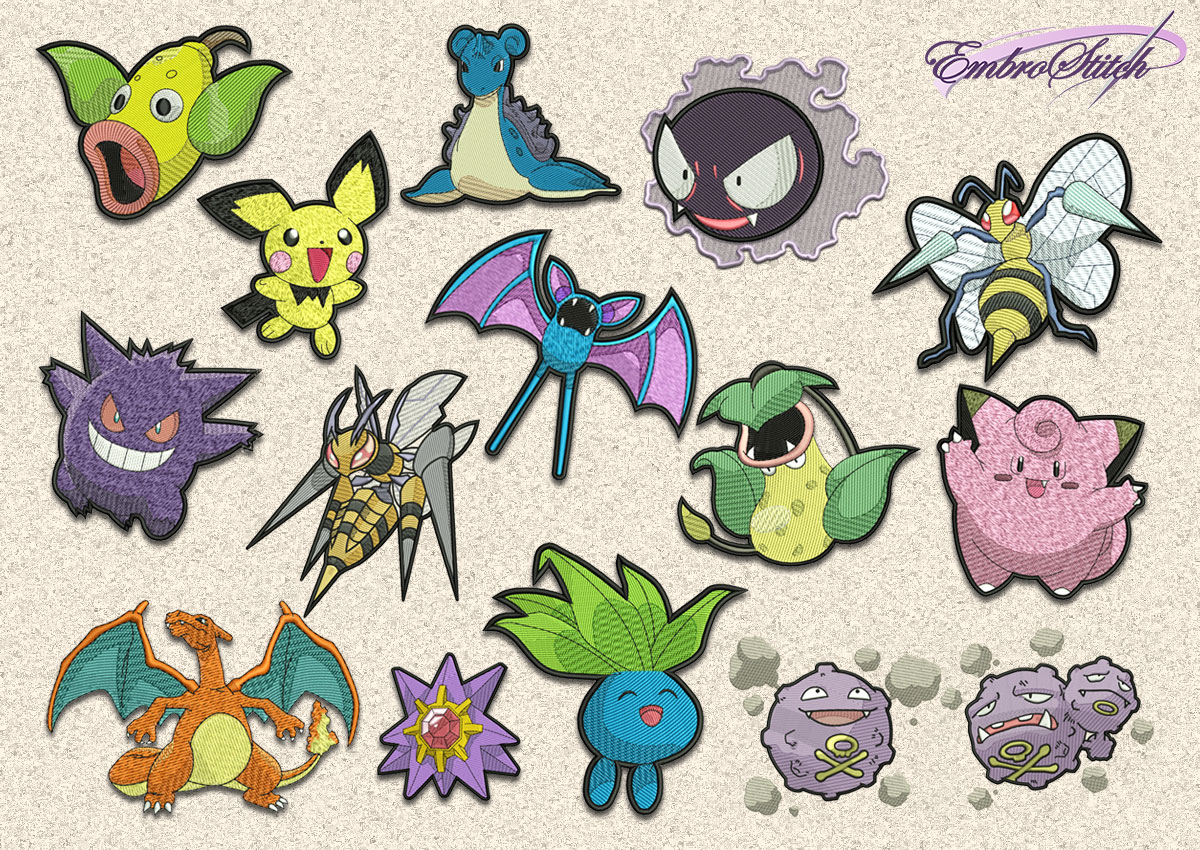 The pack of embroidery design Pokemons variety
