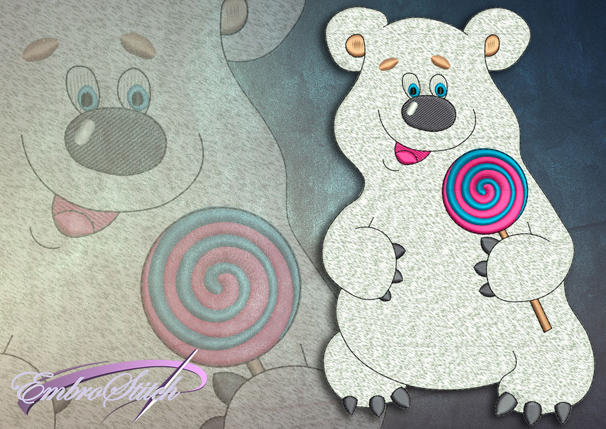 This Polar Bear Candy design was digitized and embroidered by Embrostitch studio