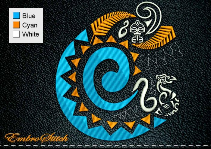 This Polynesian Tattoo Abstraction design was digitized and embroidered by Embrostitch studio