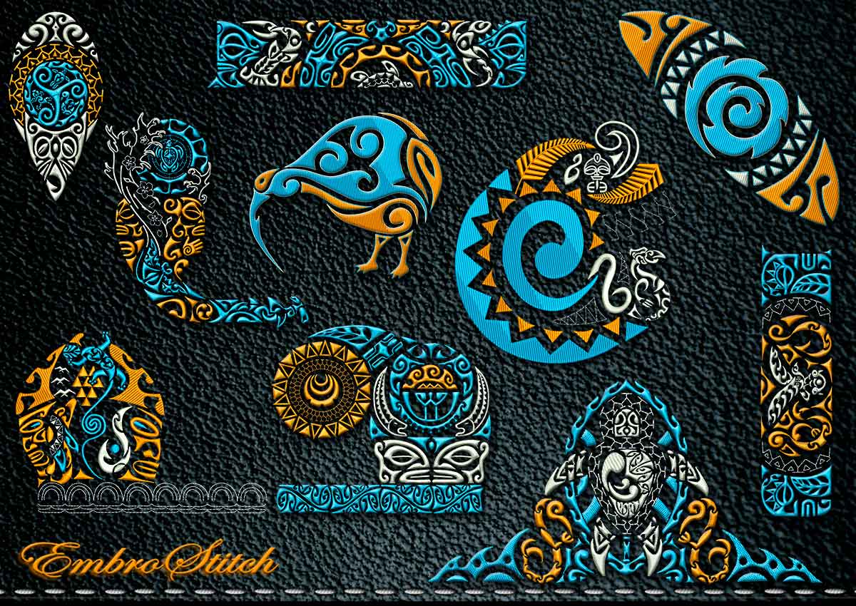 This Polynesian Tattoo Abstraction set design was digitized and embroidered by Embrostitch studio
