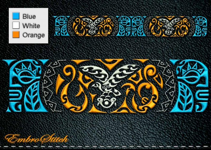 This Polynesian Tattoo Bird design was digitized and embroidered by Embrostitch studio