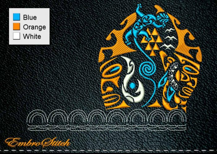 This Polynesian Tattoo Embroidery Shoulder design was digitized and embroidered by Embrostitch studio