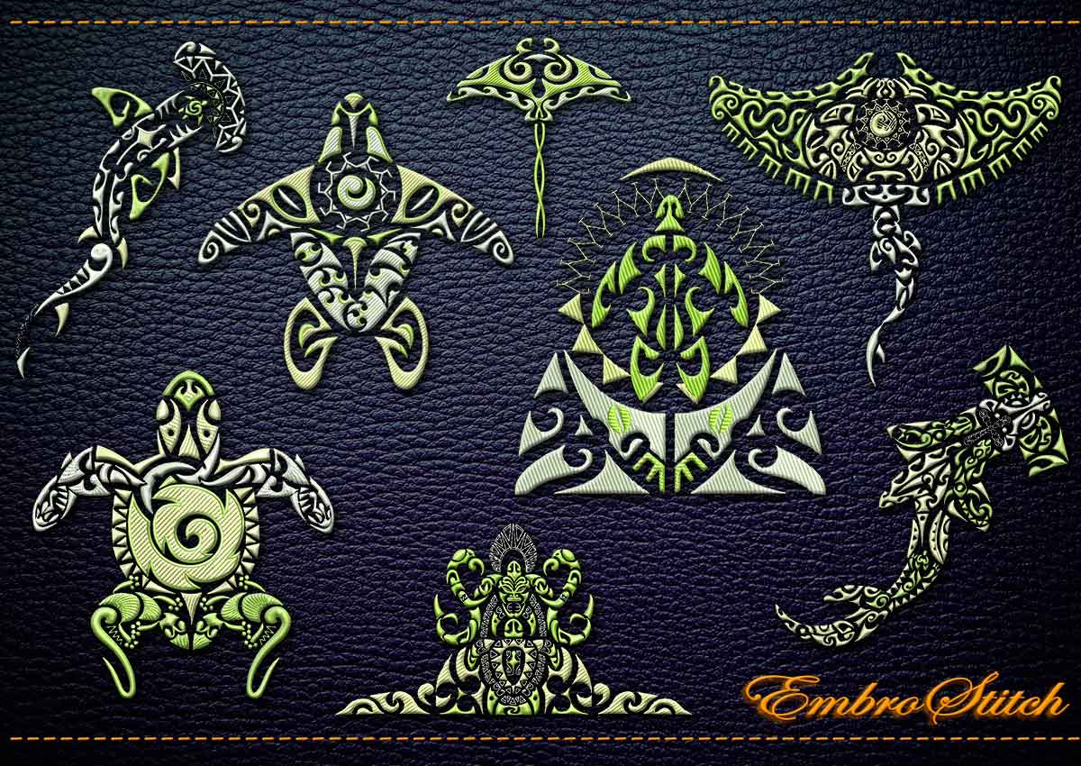 This Polynesian Tattoo Fauna collection design was digitized and embroidered by Embrostitch studio