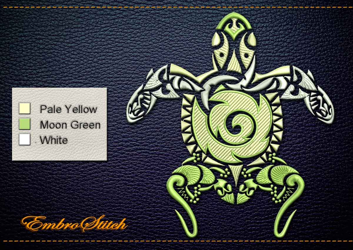 This Polynesian Tattoo Fauna Oceania design was digitized and embroidered by Embrostitch studio