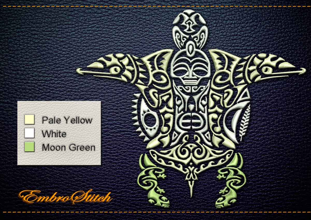 This Polynesian Tattoo Fertility design was digitized and embroidered by Embrostitch studio