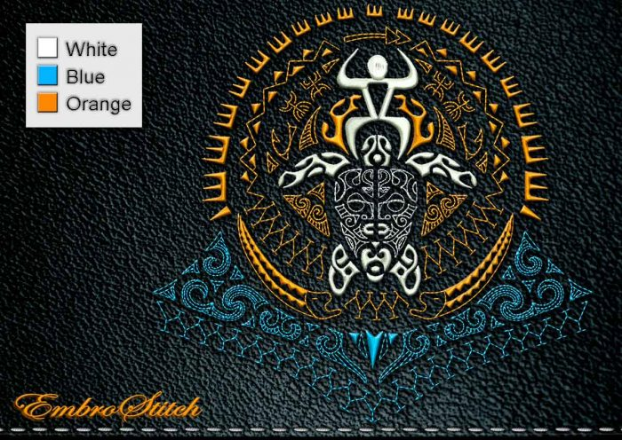 This Polynesian Tattoo Hunter design was digitized and embroidered by Embrostitch studio