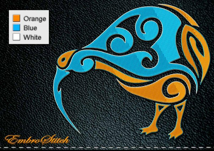 This Polynesian Tattoo Kiwi design was digitized and embroidered by Embrostitch studio