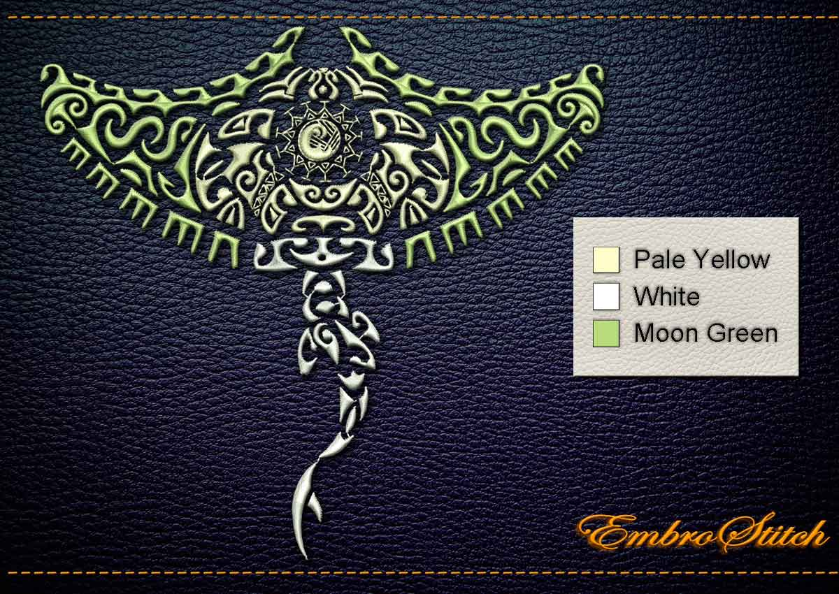 This Polynesian Tattoo Manta Ray design was digitized and embroidered by Embrostitch studio