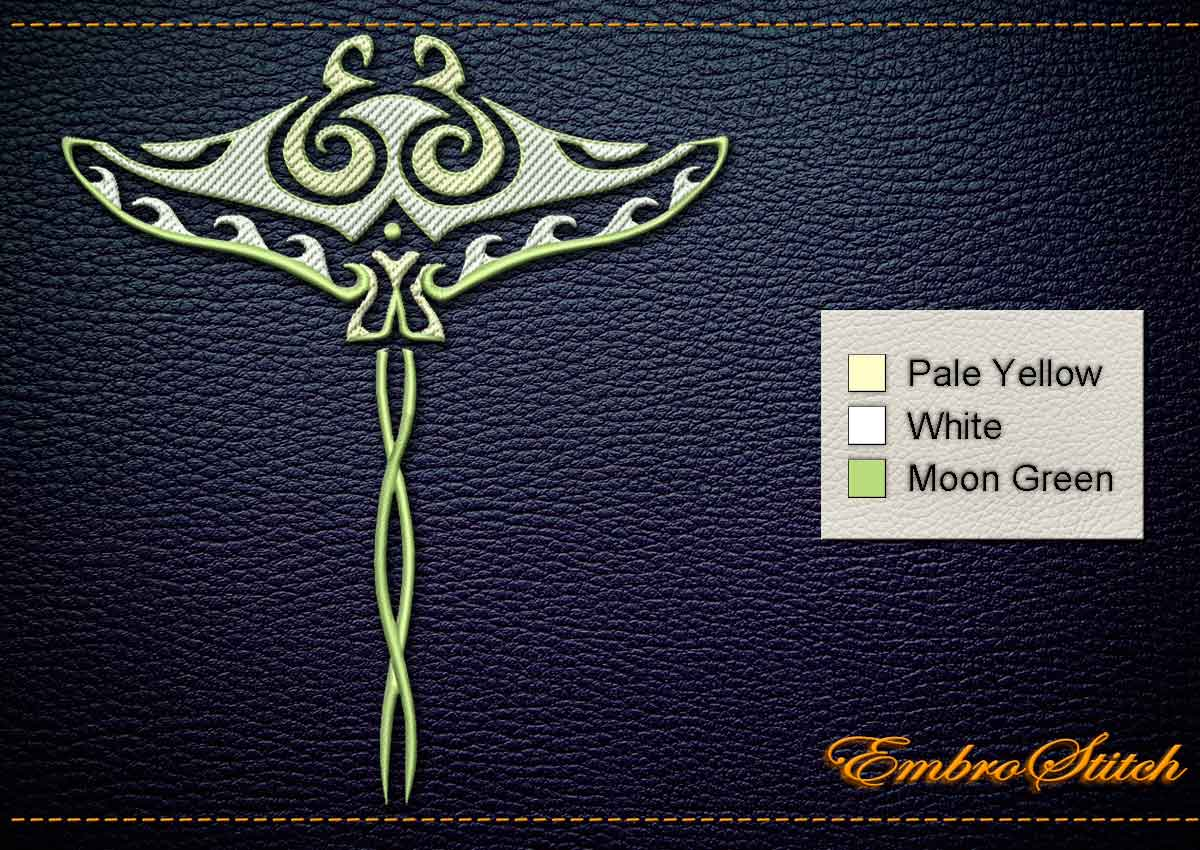 This Polynesian Tattoo Manta White design was digitized and embroidered by Embrostitch studio