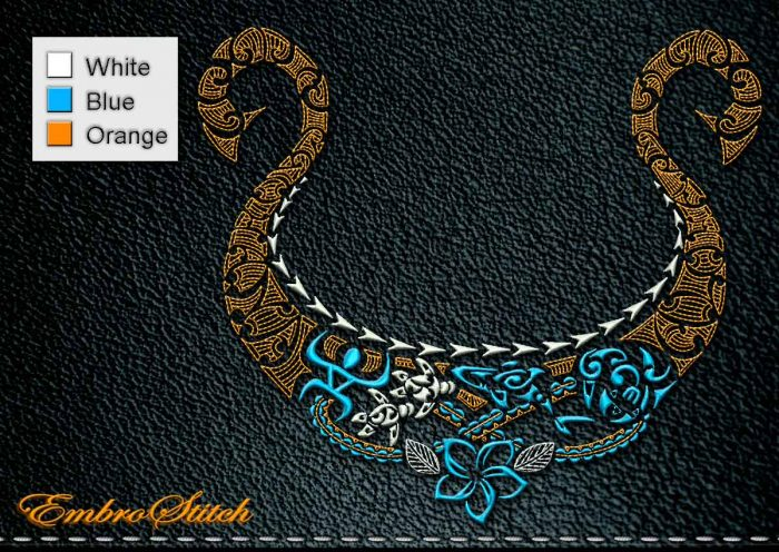 This Polynesian Tattoo Necklace design was digitized and embroidered by Embrostitch studio