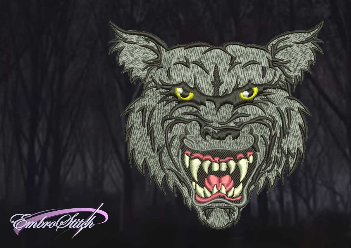 The embroidery design Portrait of angry wolf was digitized in Embrostich Studio.
