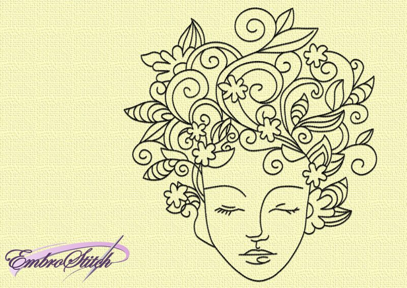 The embroidery design Portrait of floral girl looks unusual and interesting. It will decorate any style.