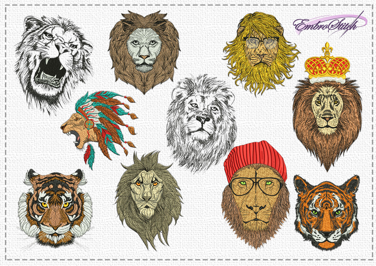The pack of high quality embroidery design Portraits of big cats