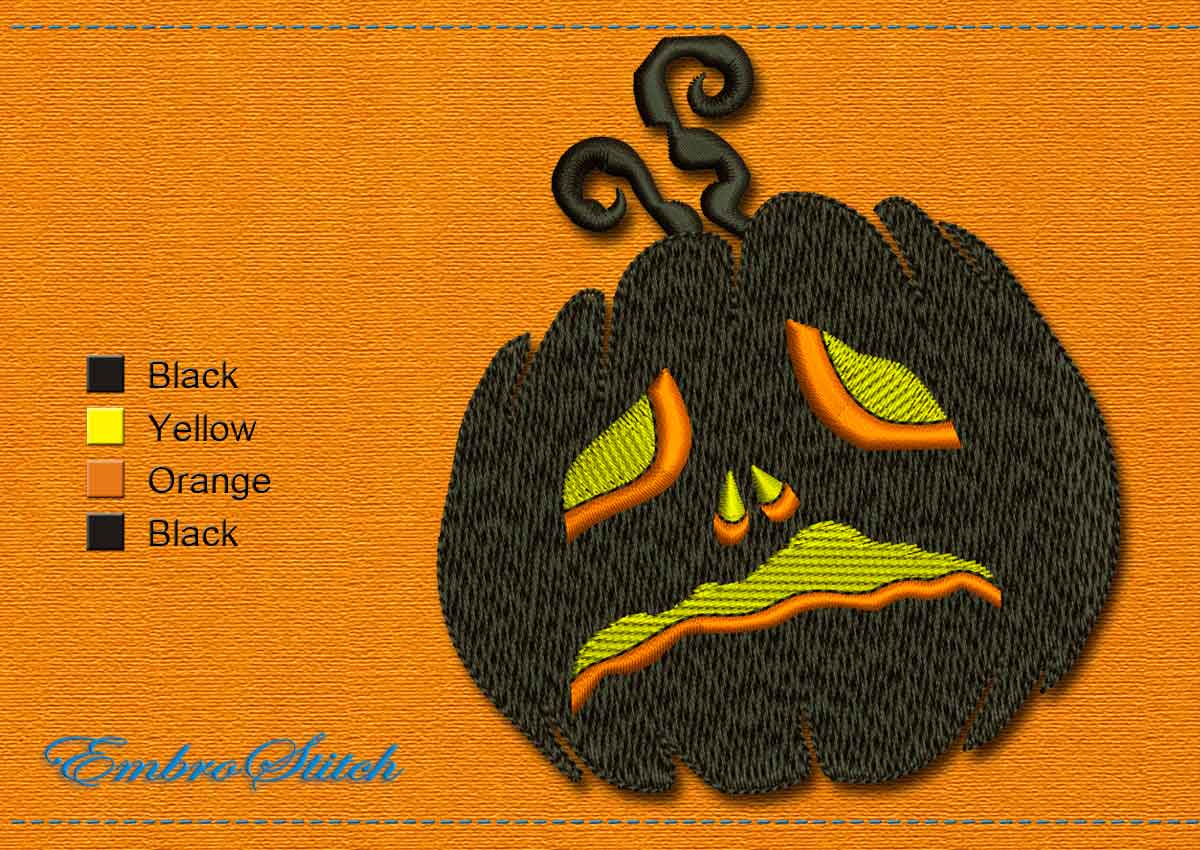 This Pumpkin Halloween design was digitized and embroidered by Embrostitch studio