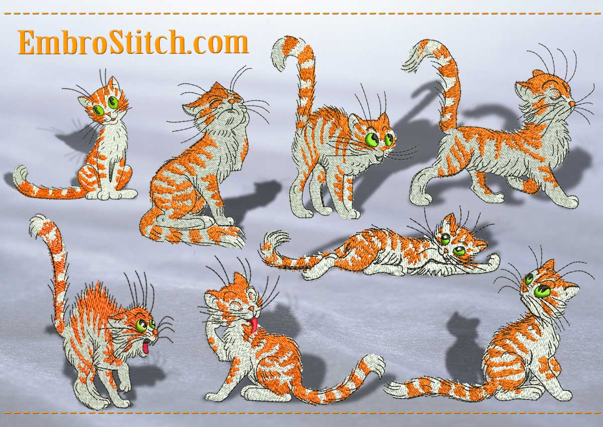 This Red Funny Kittens design was digitized and embroidered by Embrostitch studio