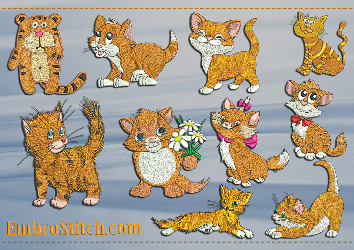 This Red Kittens Cats design was digitized and embroidered by Embrostitch studio