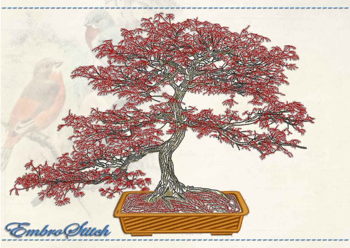 This Red Maple design was digitized and embroidered by Embrostitch studio