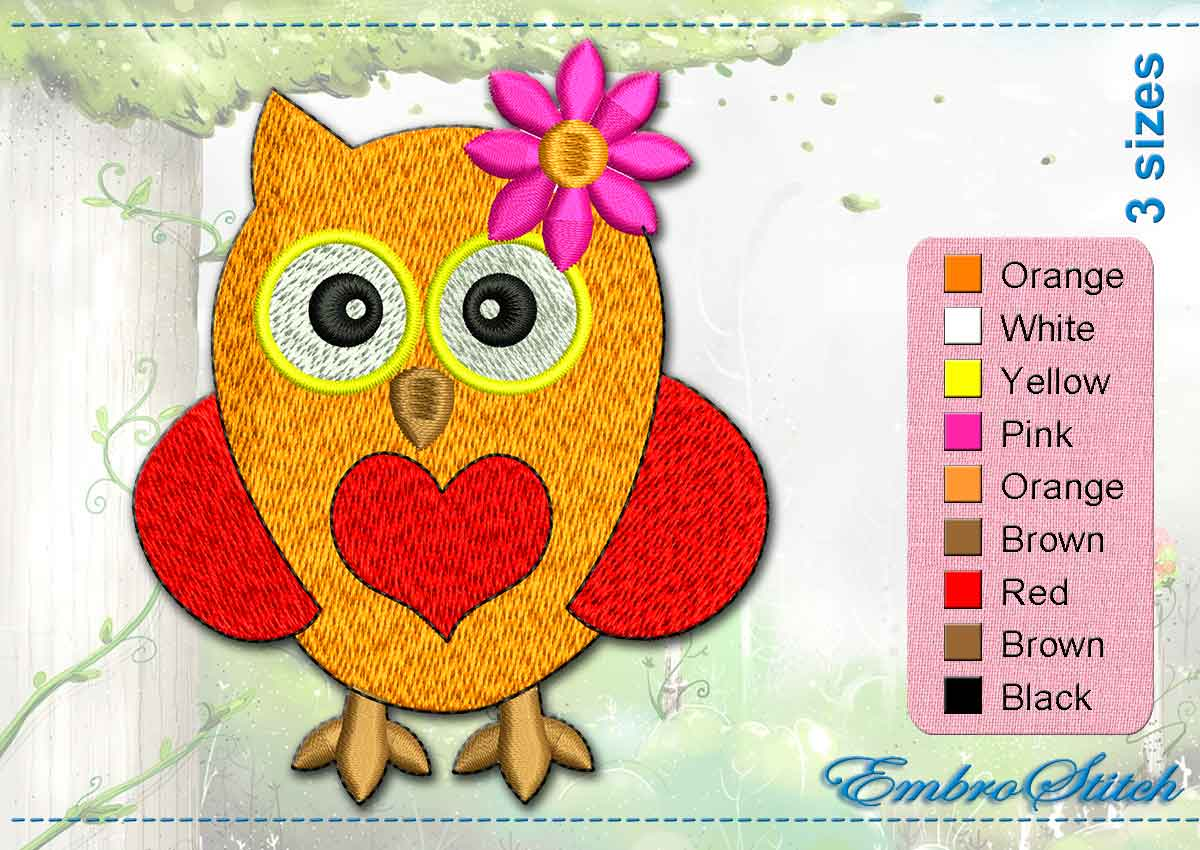 This Red Owl Flower design was digitized and embroidered by Embrostitch studio