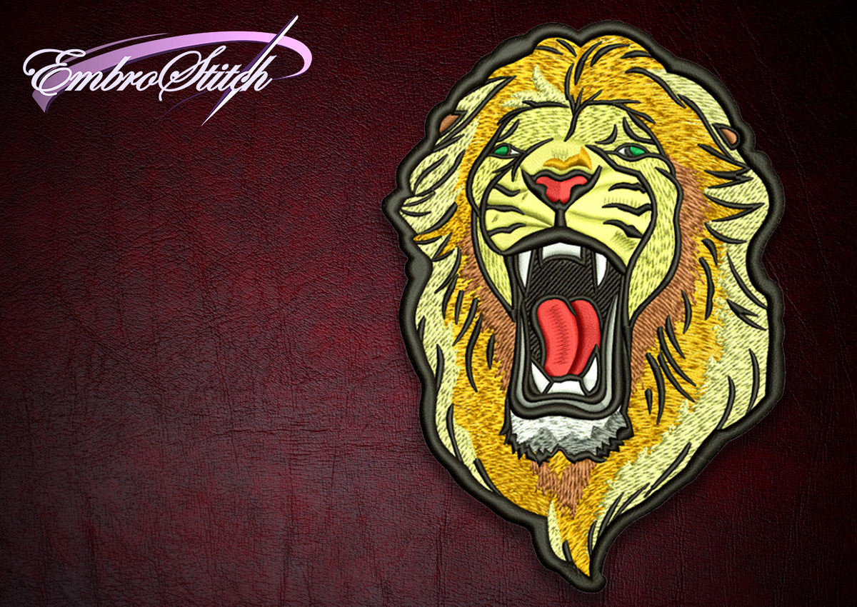 The high quality embroidery design Biker patch Roaring Lion