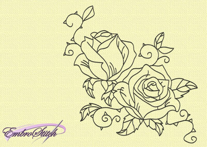 The embroidery design Rose blossom will look good on a fabric of any color due to its monochromatic.