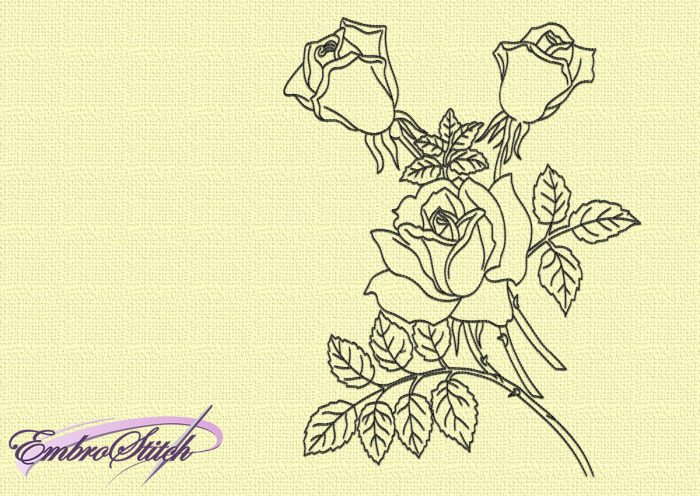 The embroidery design Roses will look perfect on the dresses, blouses, skirts , denim and others.