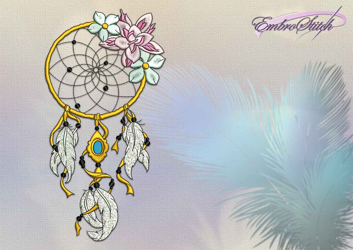 The embroidery design Royal Dreamcatcher with flowers and feathers