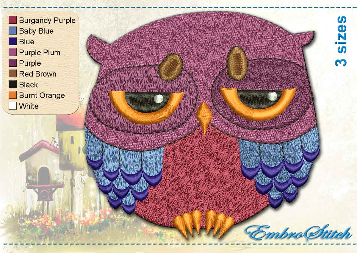 This Sad Owl design was digitized and embroidered by Embrostitch studio
