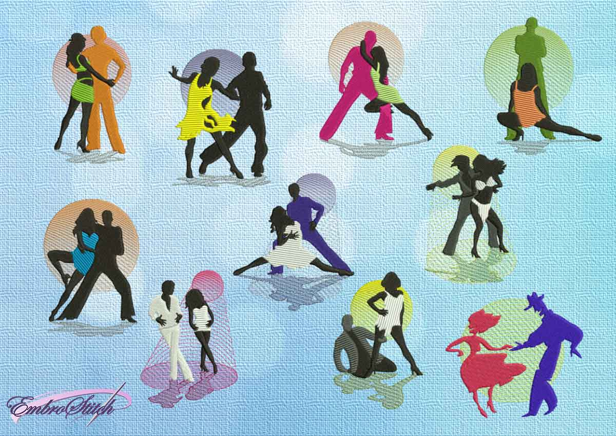 The pack of embroidery designs Samba&Bachata dances
