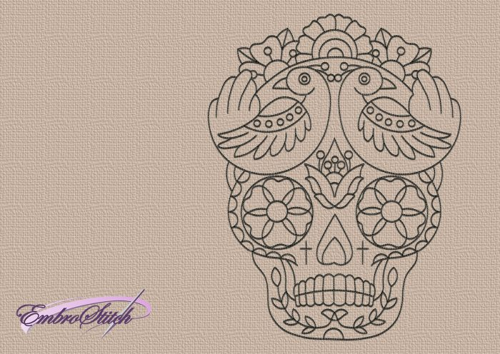 The embroidery design Santa Muerte skull is very simple in embroidering due to single-color run stiching elements.