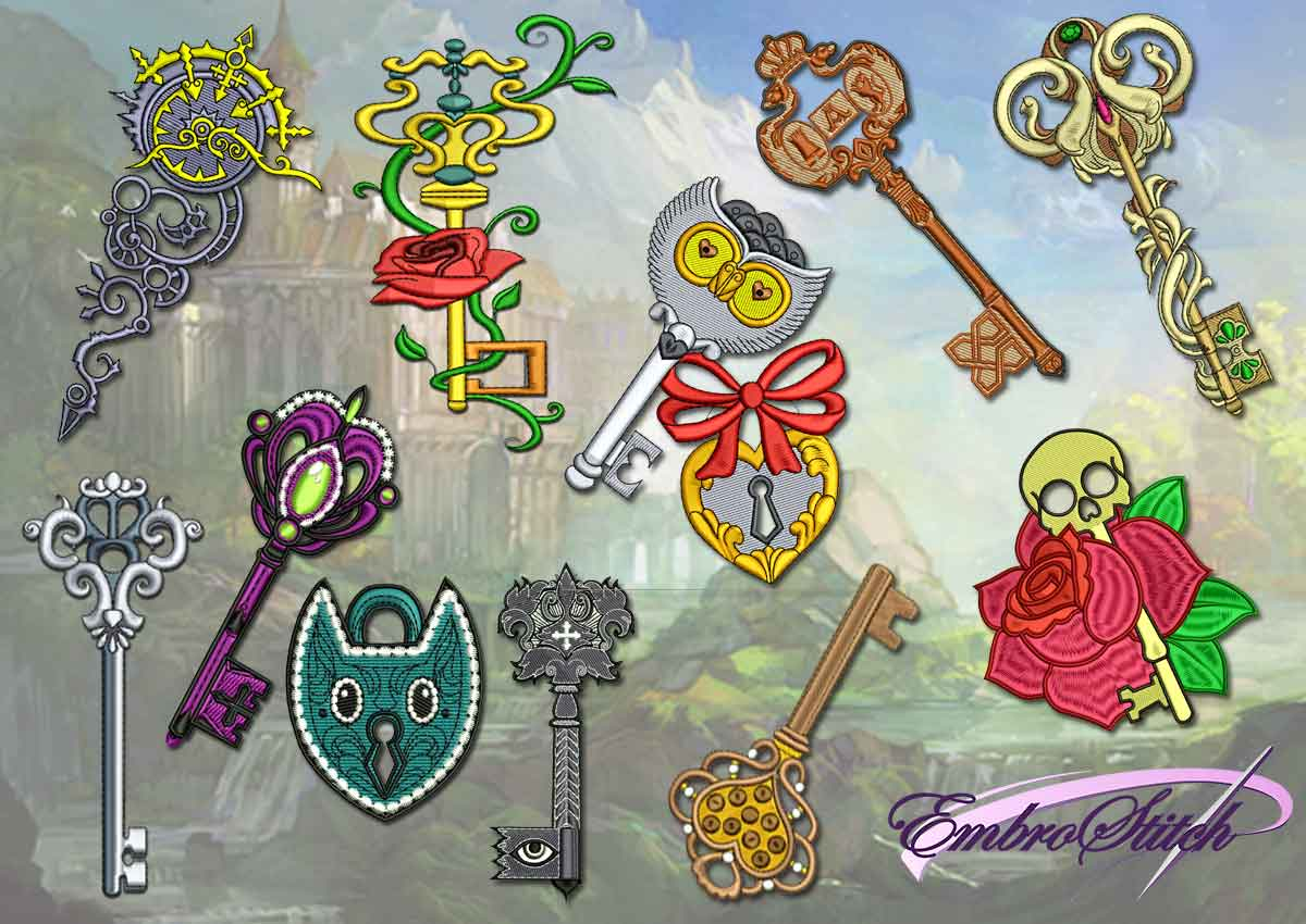 The pack of embroidery design Set of fairy keys