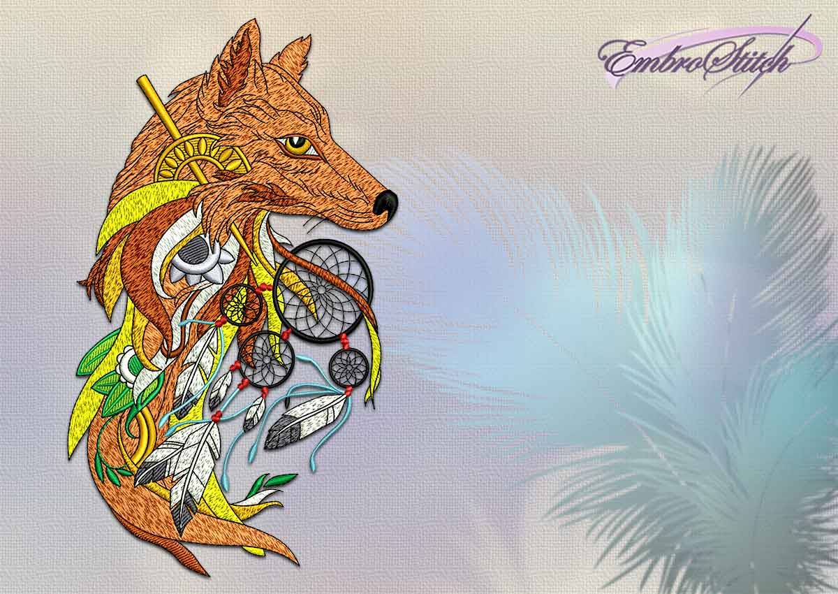 The embroidery design Shaman fox with dreamcatcher