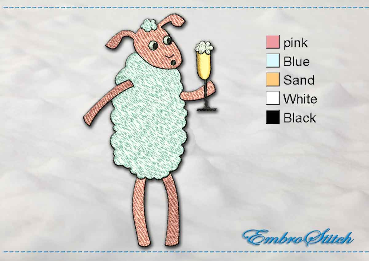 This Sheep Champagne design was digitized and embroidered by Embrostitch studio