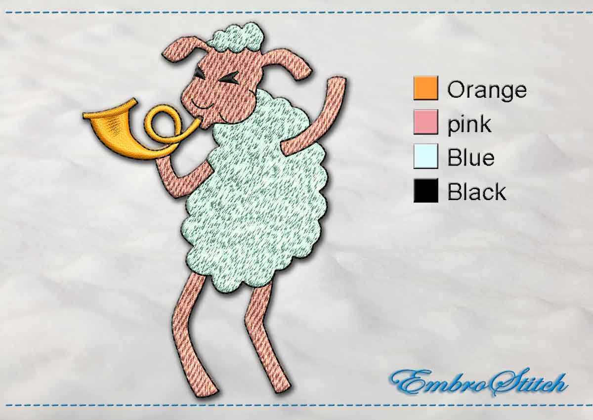 This Sheep Musician design was digitized and embroidered by Embrostitch studio