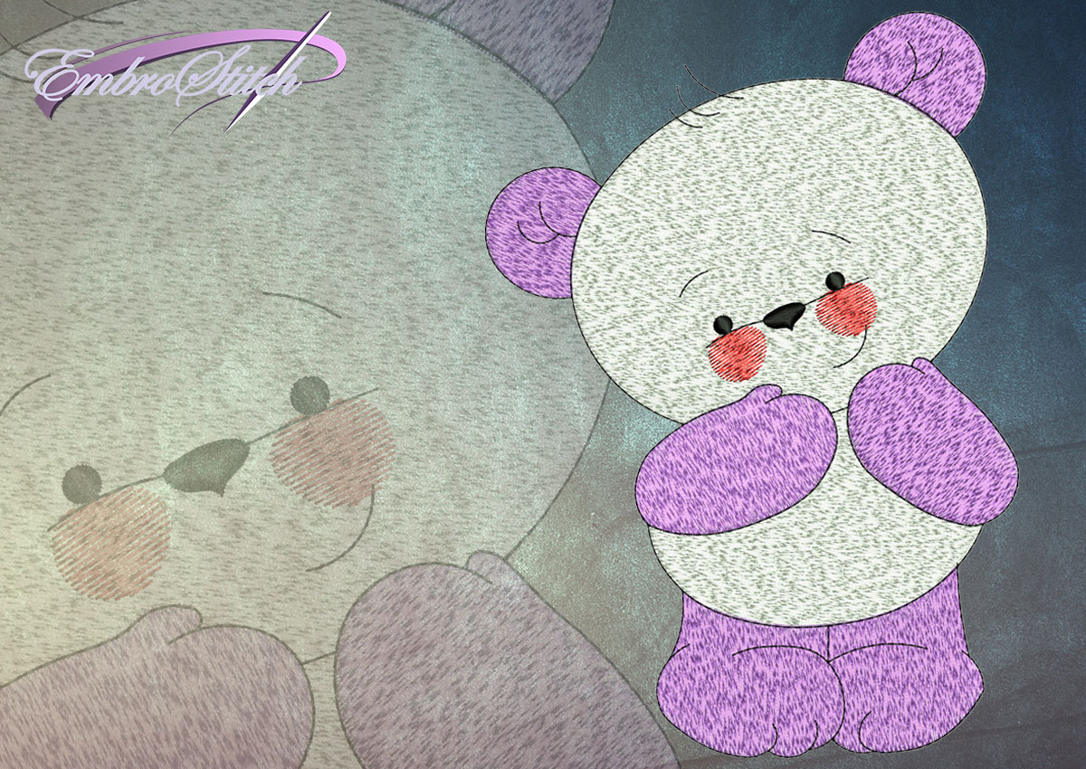 This Shy Bear Cub design was digitized and embroidered by Embrostitch studio