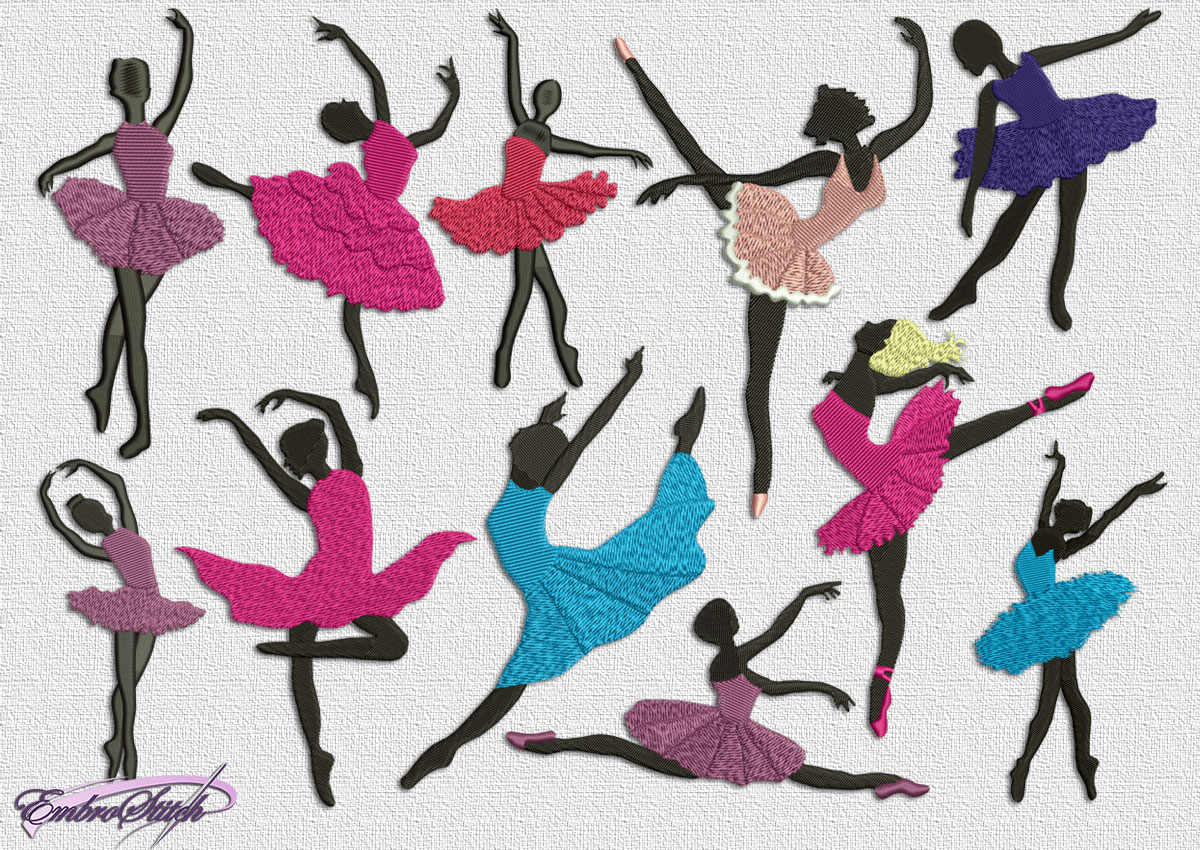 The pack of high grade embroidery design Silhouettes of dancing ballerinas