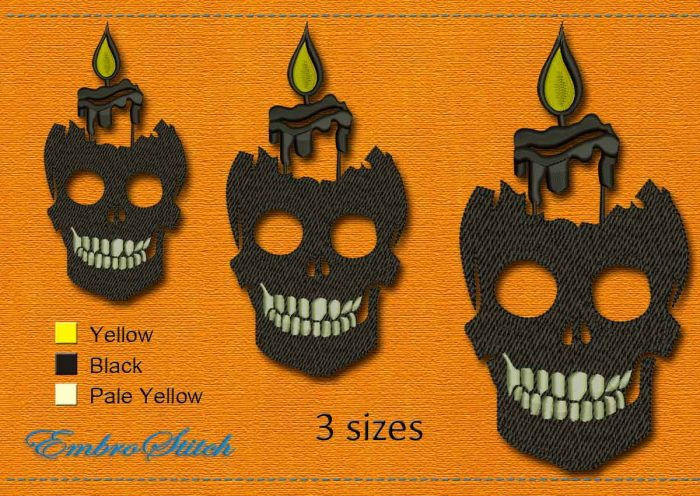 This Skull Candle Halloween design was digitized and embroidered by Embrostitch studio